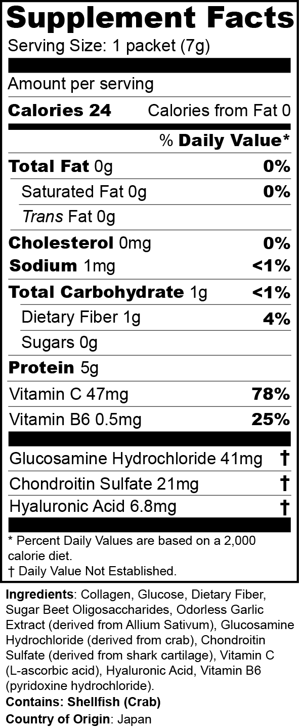 S·ONE·S G Plus Nutritional Label